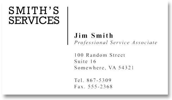 A bland client business card